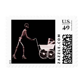 X-RAY SKELETON WOMAN & BABY CARRIAGE - RED POSTAGE