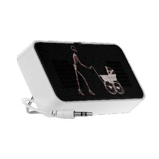 X-RAY SKELETON WOMAN BABY CARRIAGE - RED TRAVELLING SPEAKER