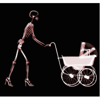 X-RAY SKELETON WOMAN & BABY CARRIAGE - RED STATUETTE