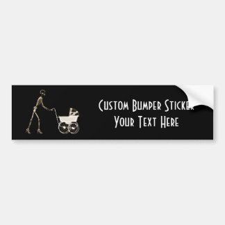 X-RAY SKELETON WOMAN & BABY CARRIAGE - SEPIA BUMPER STICKER