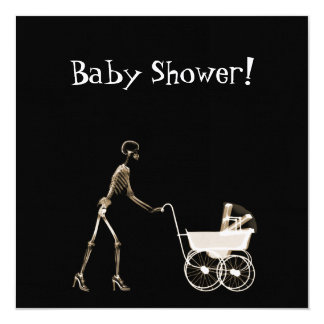 X-RAY SKELETON WOMAN & BABY CARRIAGE - SEPIA CARD