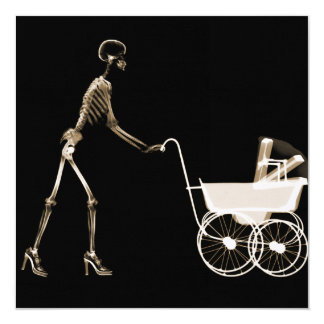 X-RAY SKELETON WOMAN & BABY CARRIAGE - SEPIA PERSONALIZED INVITE