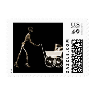 X-RAY SKELETON WOMAN & BABY CARRIAGE - SEPIA POSTAGE STAMPS
