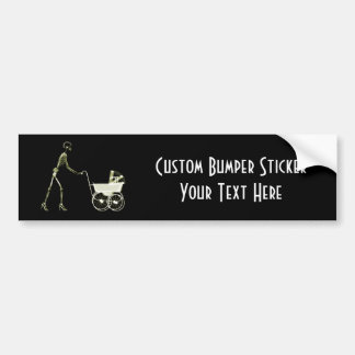 X-RAY SKELETON WOMAN & BABY CARRIAGE - YELLOW BUMPER STICKER