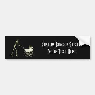 X-RAY SKELETON WOMAN & BABY CARRIAGE - YELLOW BUMPER STICKER