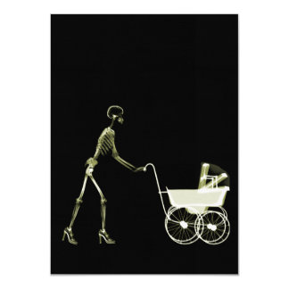 X-RAY SKELETON WOMAN & BABY CARRIAGE - YELLOW CARD