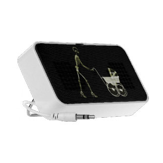 X-RAY SKELETON WOMAN BABY CARRIAGE - YELLOW TRAVELLING SPEAKERS