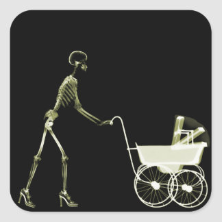 X-RAY SKELETON WOMAN & BABY CARRIAGE - YELLOW SQUARE STICKER
