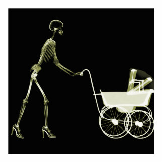 X-RAY SKELETON WOMAN & BABY CARRIAGE - YELLOW STATUETTE