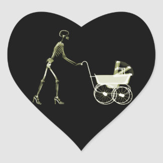 X-RAY SKELETON WOMAN & BABY CARRIAGE - YELLOW HEART STICKER