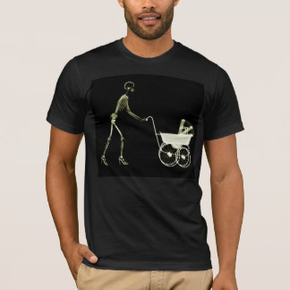 X-RAY SKELETON WOMAN & BABY CARRIAGE - YELLOW T-Shirt