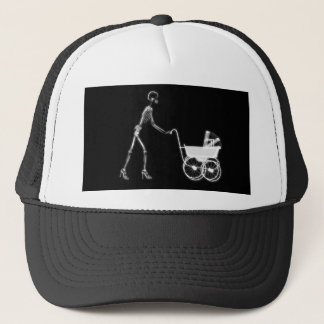 X-RAY SKELETON WOMAN CARRIAGE - B&W TRUCKER HAT