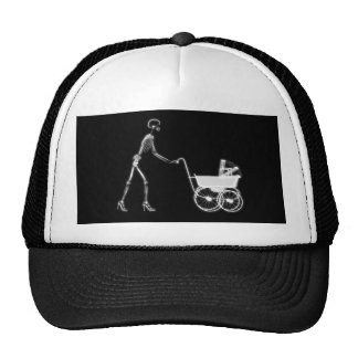 X-RAY SKELETON WOMAN CARRIAGE - B&W TRUCKER HAT