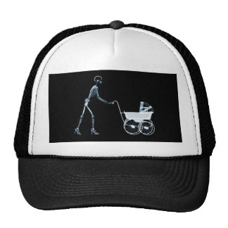 X-RAY SKELETON WOMAN CARRIAGE - BLUE TRUCKER HAT