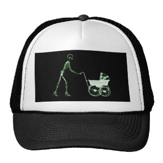 X-RAY SKELETON WOMAN CARRIAGE - GREEN TRUCKER HAT