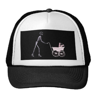 X-RAY SKELETON WOMAN CARRIAGE - PINK TRUCKER HAT
