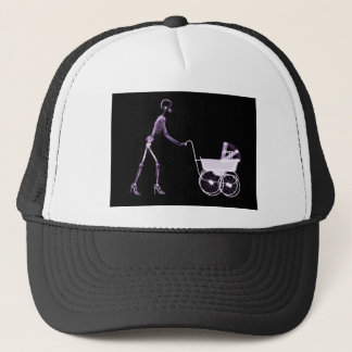 X-RAY SKELETON WOMAN CARRIAGE - PURPLE TRUCKER HAT