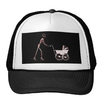 X-RAY SKELETON WOMAN CARRIAGE - RED TRUCKER HAT