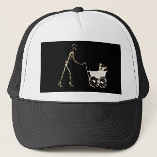 X-RAY SKELETON WOMAN CARRIAGE - SEPIA TRUCKER HAT
