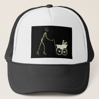 X-RAY SKELETON WOMAN CARRIAGE - YELLOW TRUCKER HAT