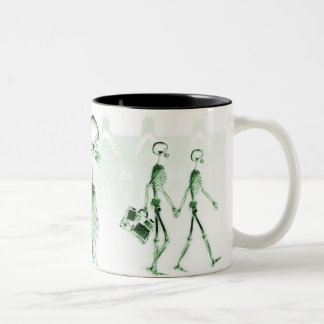X-Ray Skeletons Afternoon Stroll Green Two-Tone Coffee Mug
