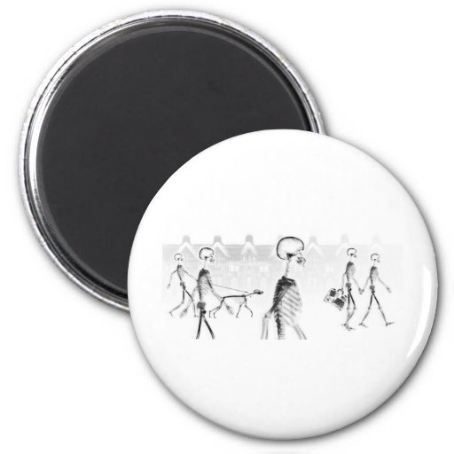 X-Ray Skeletons Afternoon Stroll Neg BW 2 Inch Round Magnet