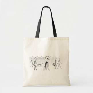 X-Ray Skeletons Afternoon Stroll Neg BW Budget Tote Bag