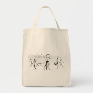 X-Ray Skeletons Afternoon Stroll Neg BW Grocery Tote Bag