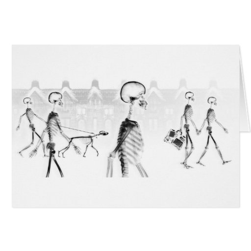 X-Ray Skeletons Afternoon Stroll Neg BW Card