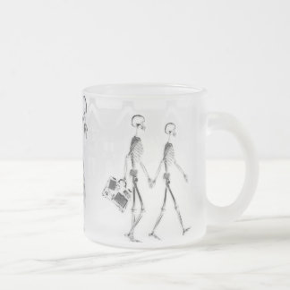 X-Ray Skeletons Afternoon Stroll Neg BW Frosted Glass Coffee Mug