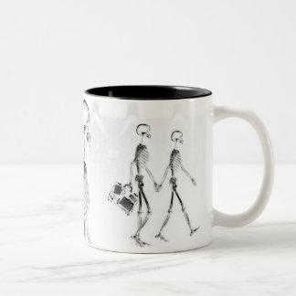 X-Ray Skeletons Afternoon Stroll Neg BW Two-Tone Coffee Mug