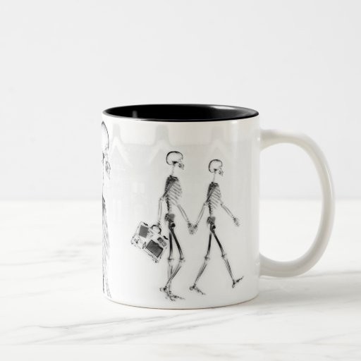 X-Ray Skeletons Afternoon Stroll Neg BW Two-Tone Coffee Mug