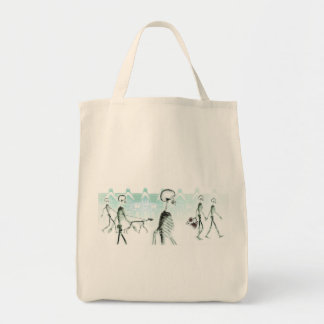 X-Ray Skeletons Afternoon Stroll Negative White Grocery Tote Bag