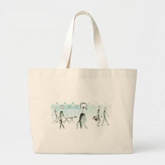 X-Ray Skeletons Afternoon Stroll Negative White Jumbo Tote Bag