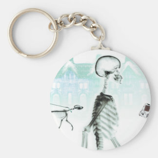 X-Ray Skeletons Afternoon Stroll Negative White Basic Round Button Keychain