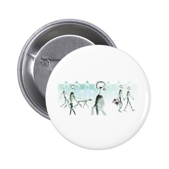 X-Ray Skeletons Afternoon Stroll Negative White Pinback Button