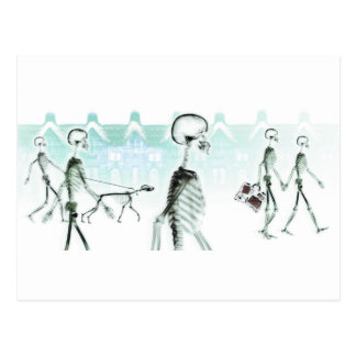 X-Ray Skeletons Afternoon Stroll Negative White Postcard