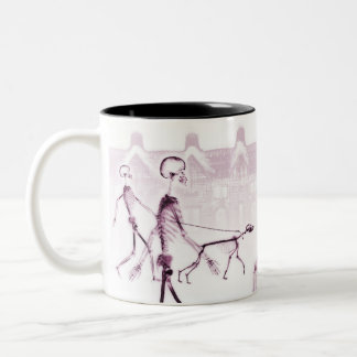 X-Ray Skeletons Afternoon Stroll Pink Two-Tone Coffee Mug