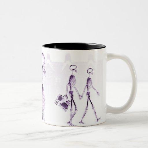 X-Ray Skeletons Afternoon Stroll Purple Two-Tone Coffee Mug