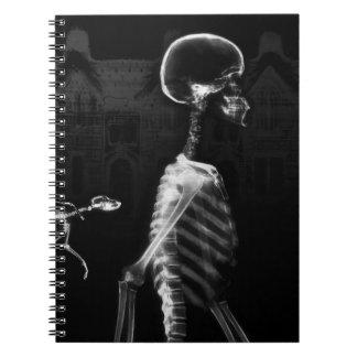 X-Ray Skeletons Midnight Stroll - B&W Spiral Notebook