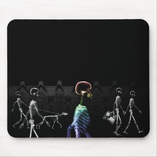X-Ray Skeletons Midnight Stroll - B&W & Rainbow Mouse Pad