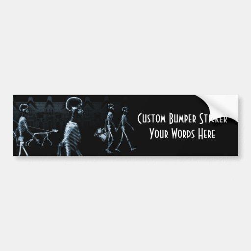 X-Ray Skeletons Midnight Stroll Black Blue Bumper Sticker