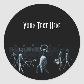 X-Ray Skeletons Midnight Stroll Black Blue Classic Round Sticker