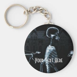X-Ray Skeletons Midnight Stroll Black Blue Basic Round Button Keychain