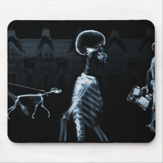 X-Ray Skeletons Midnight Stroll Black Blue Mouse Pad