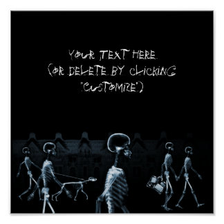 X-Ray Skeletons Midnight Stroll Black Blue Poster
