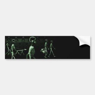 X-Ray Skeletons Midnight Stroll Black Green Bumper Sticker