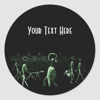 X-Ray Skeletons Midnight Stroll Black Green Classic Round Sticker