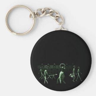 X-Ray Skeletons Midnight Stroll Black Green Basic Round Button Keychain