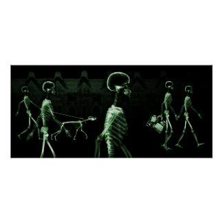 X-Ray Skeletons Midnight Stroll Black Green Posters